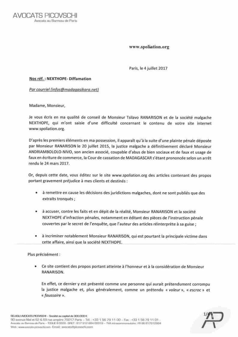 Mise en demeure du 4 juillet 2017 de RANARISON Tsilavo pour ...